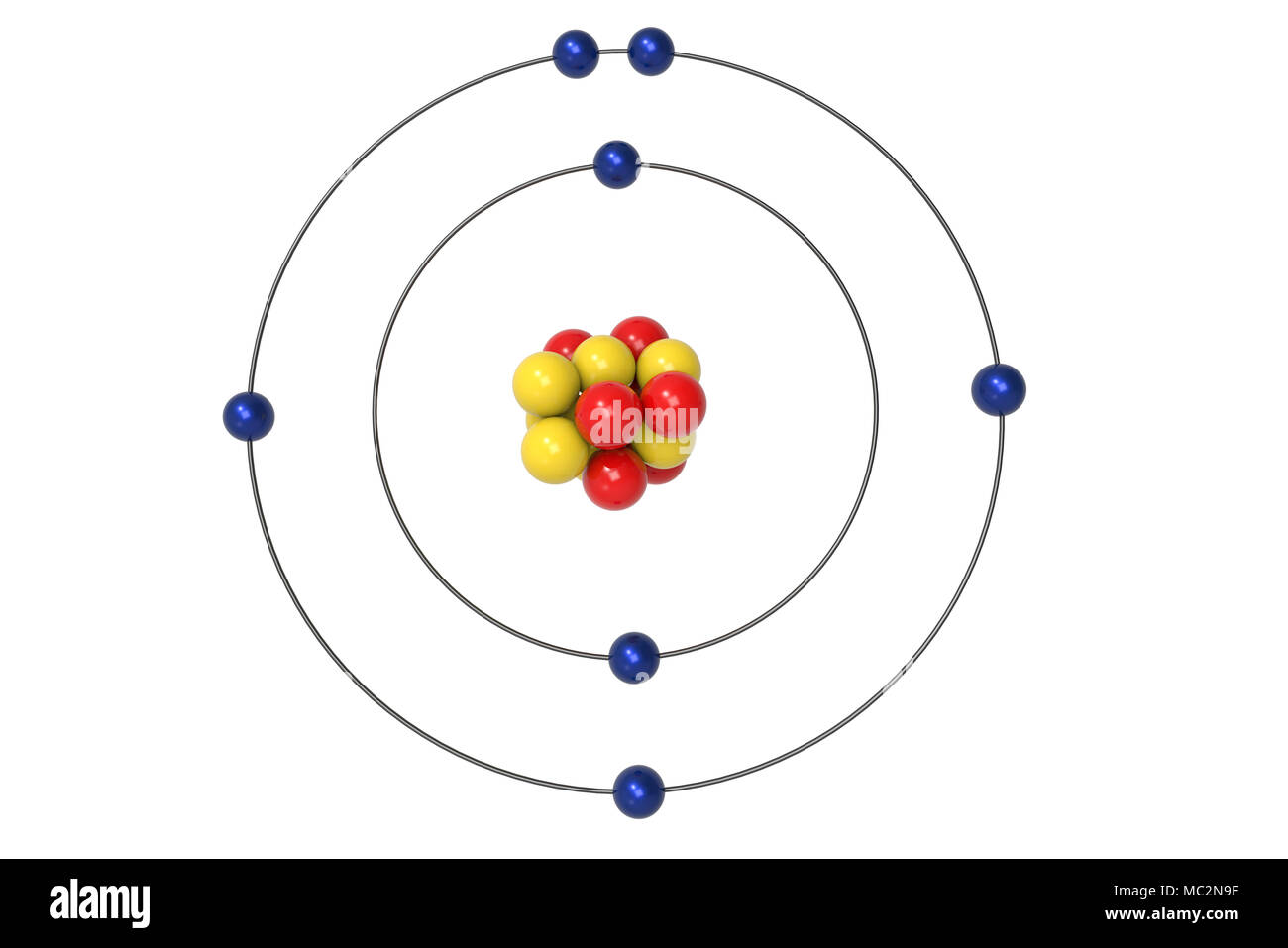 Nitrogen atom bohr model with proton neutron and electron 3d nitrogen atom bohr model with proton neutron and electron 3d illustration ccuart Image collections
