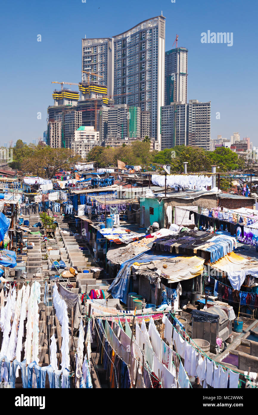Dhobi Ghat is a well known open air laundromat in Mumbai, India Stock Photo