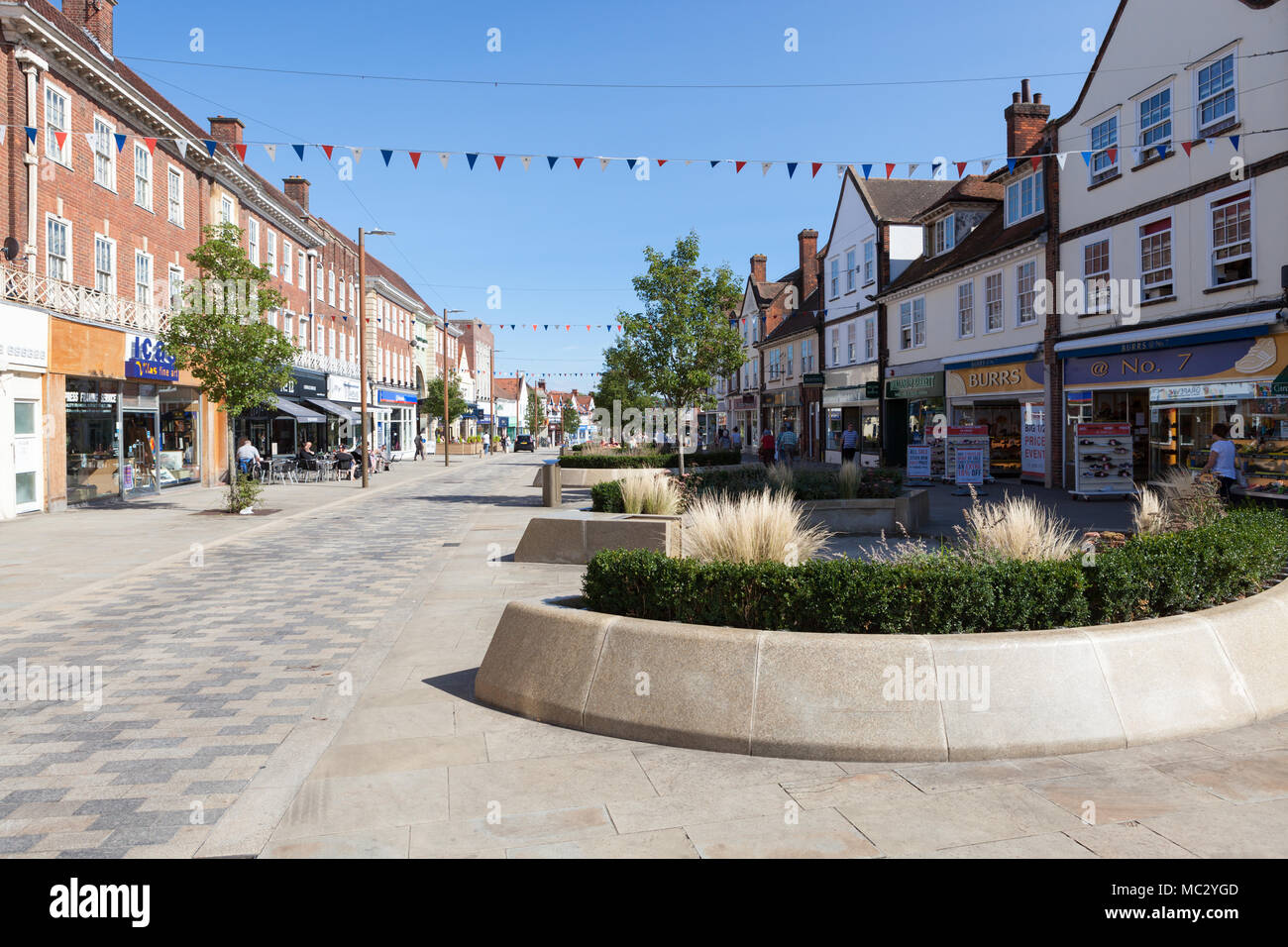 Leys Avenue With Street Furniture In Letchworth Garden City Hertfordshire Stock Photo Alamy