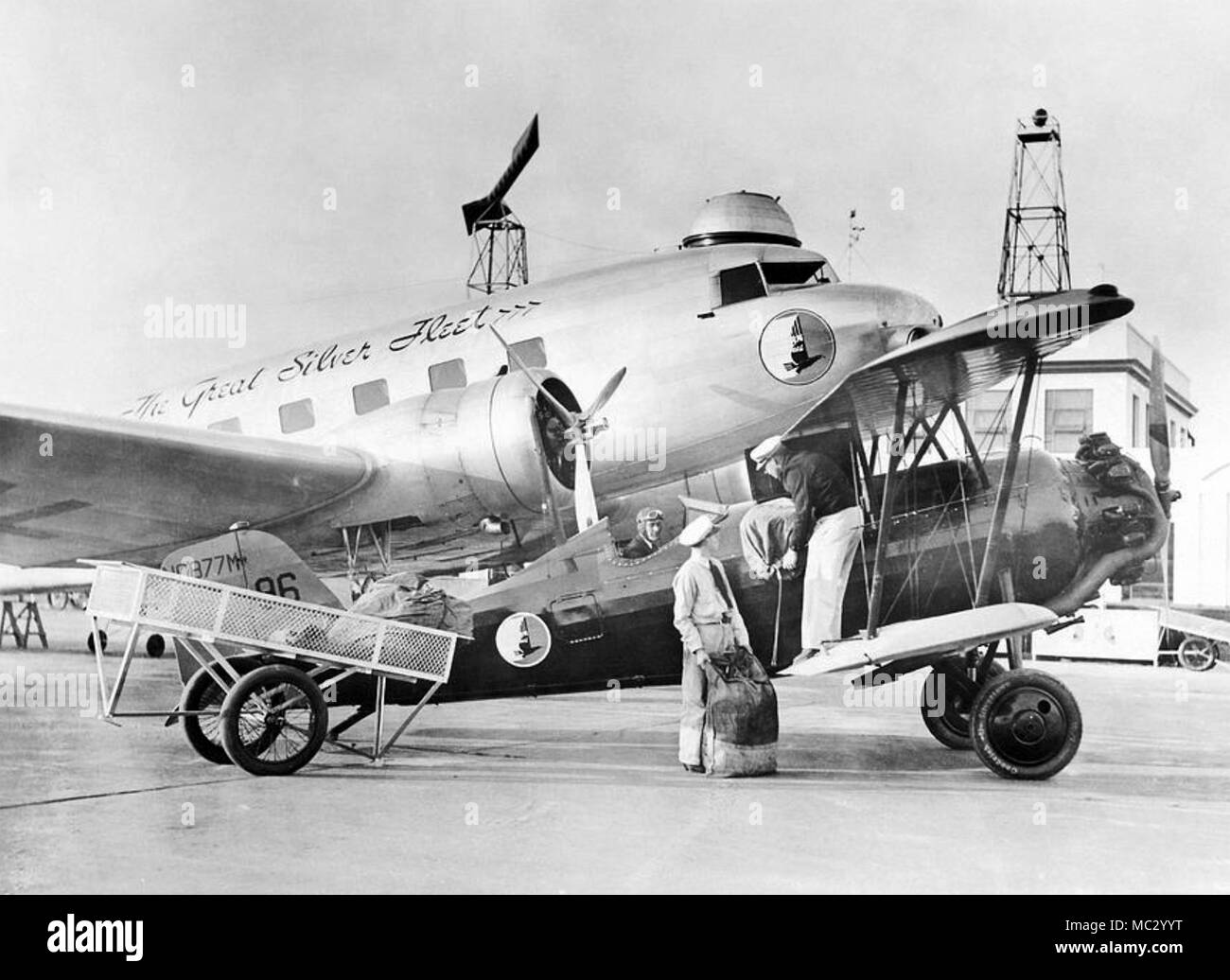 AIRMAIL carried in two of the Great Silver Fleet of aircraft in America 1935. Company became Eastern Airlines in later years. - Stock Image