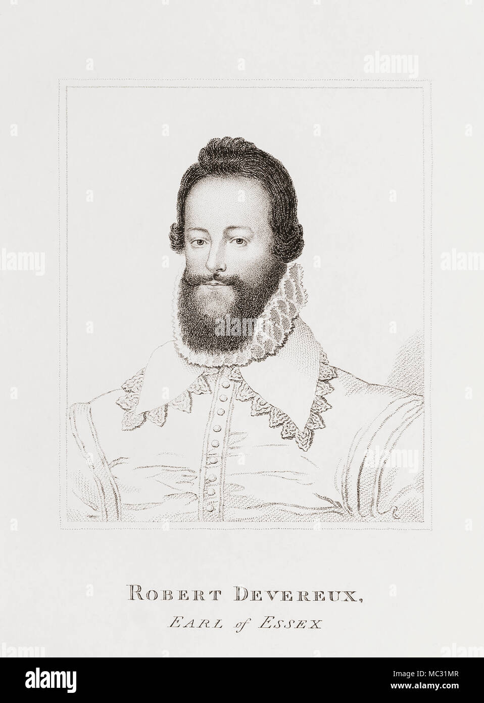 Robert Devereux, 2nd Earl of Essex, 1565-1601.  English nobleman and a favourite of Elizabeth I.  From Woodburn's Gallery of Rare Portraits, published 1816. - Stock Image
