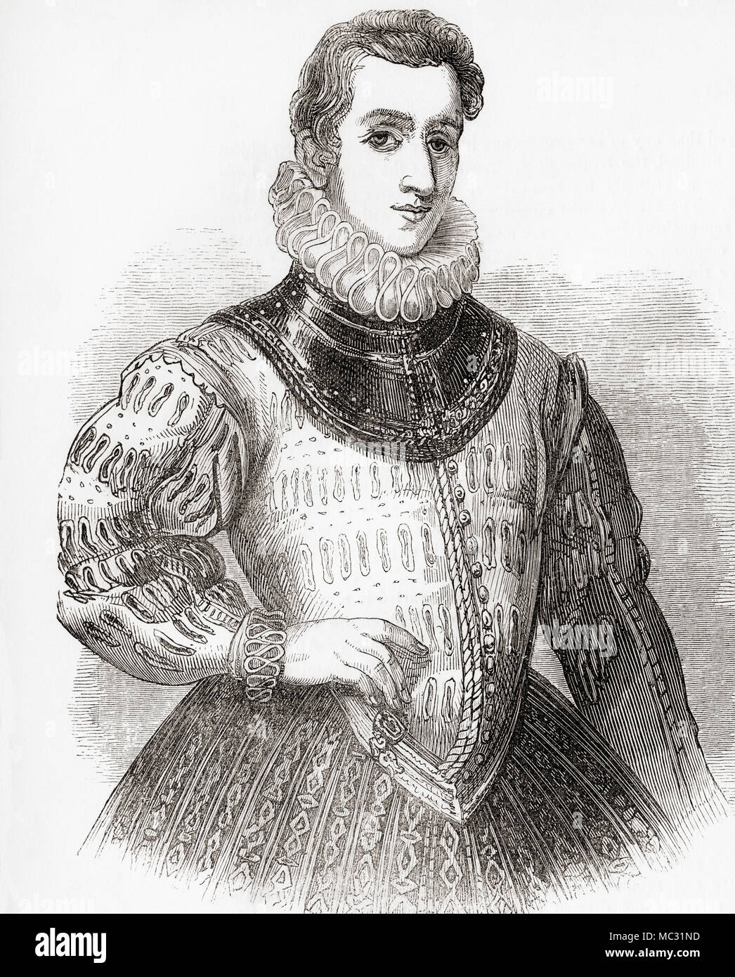 Sir Philip Sidney, 1554 – 1586.  English poet, courtier, scholar and soldier.  From Old England: A Pictorial Museum, published 1847. - Stock Image