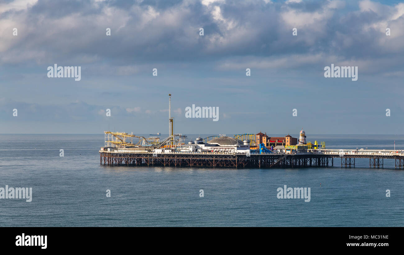 Brighton, East Sussex, England, UK - October 26, 2016: Clouds over the Palace Pier - Stock Image