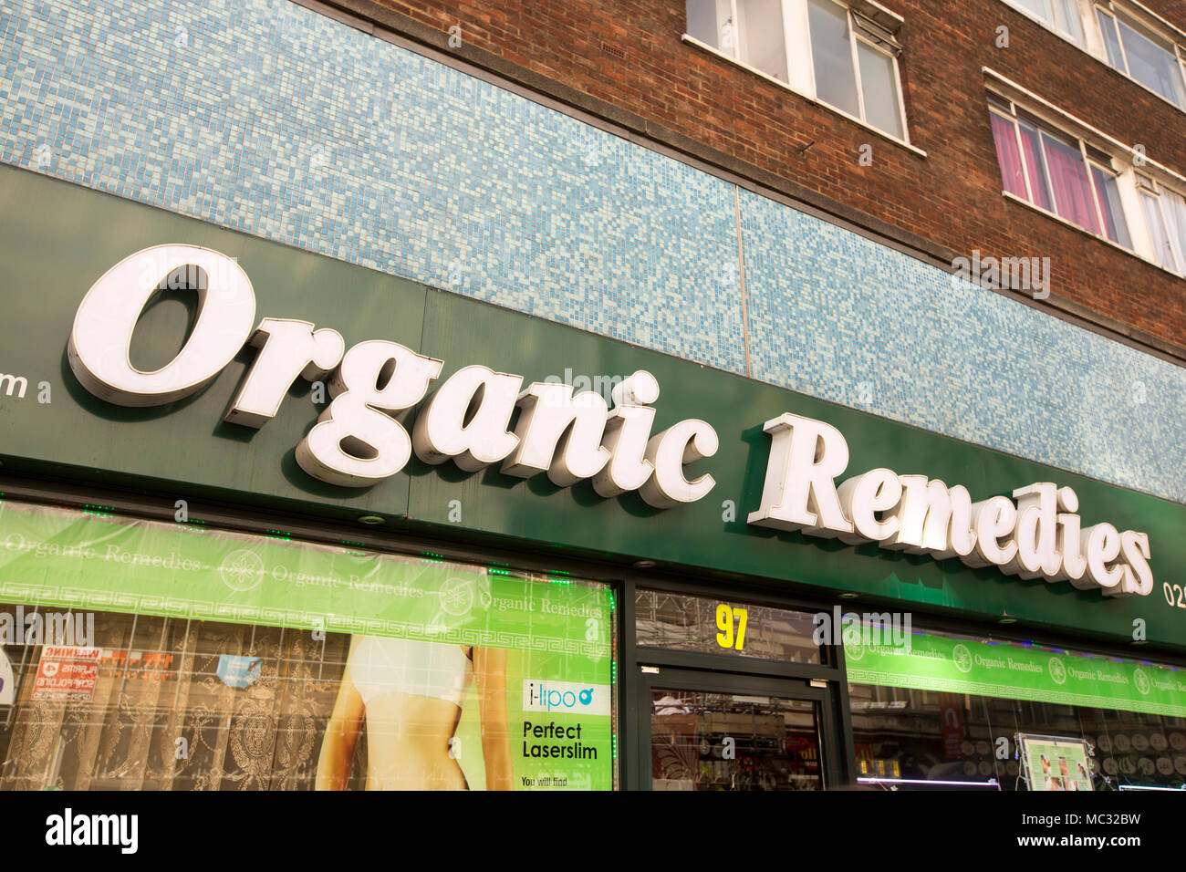 An organic remedies shop on Kingsway, London, UK Stock Photo