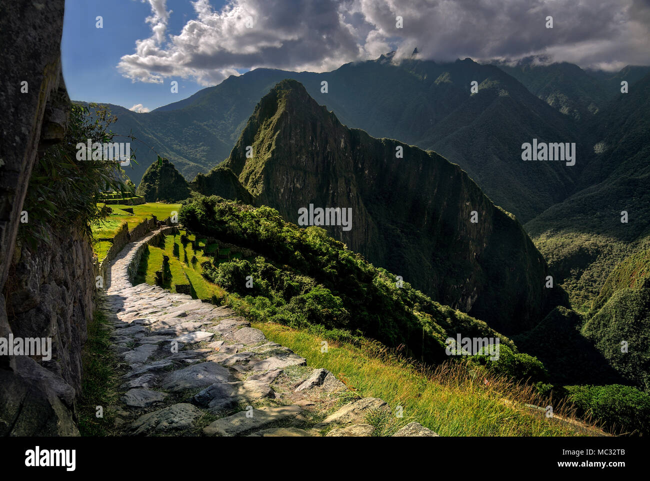 Machu Picchu Peru - View on a mountain peak - Stock Image