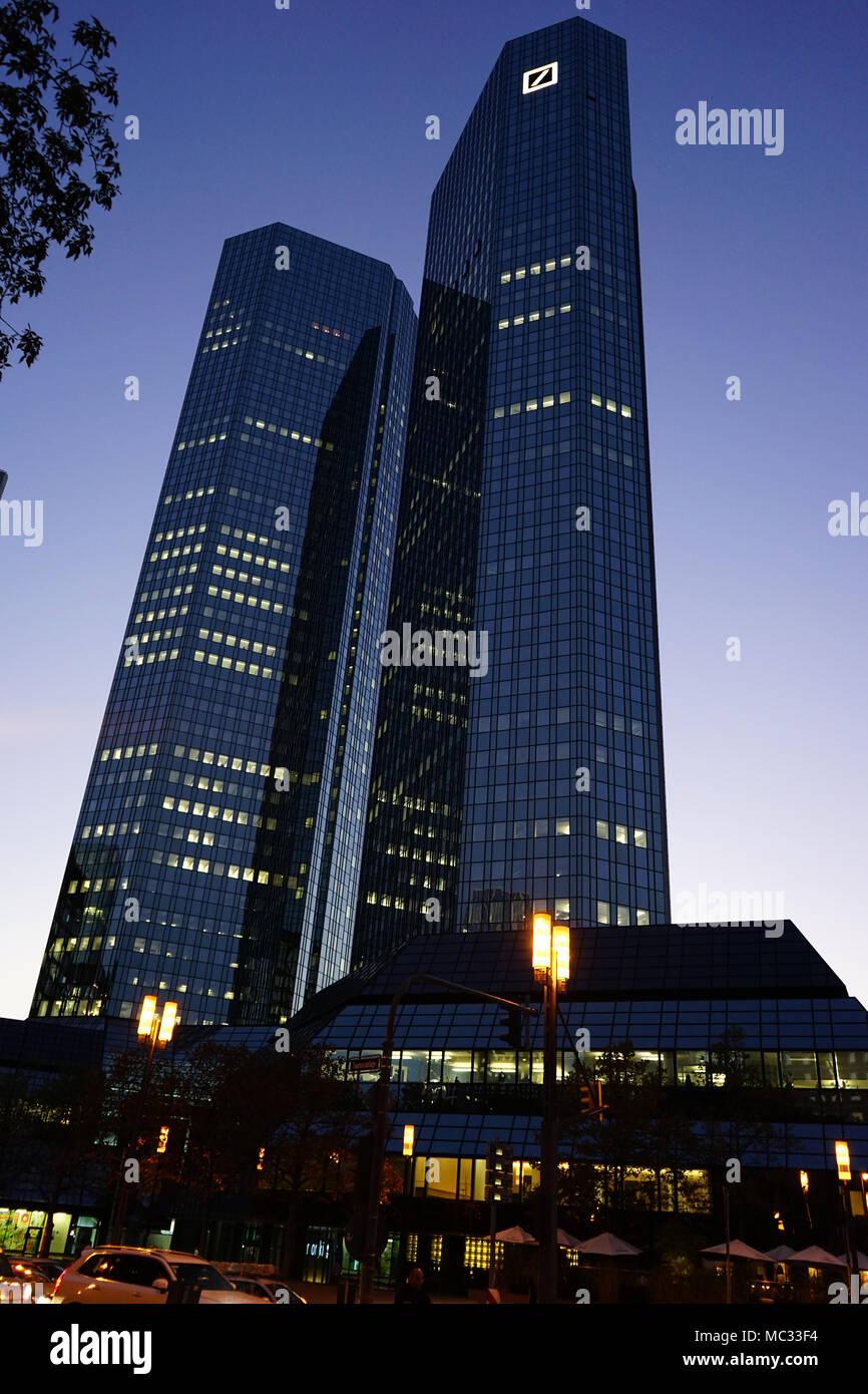 Deutsche Bank company headquarters building,  twin tower skyscraper complex, central business district called Bankenviertel in Frankfurt, Germany - Stock Image