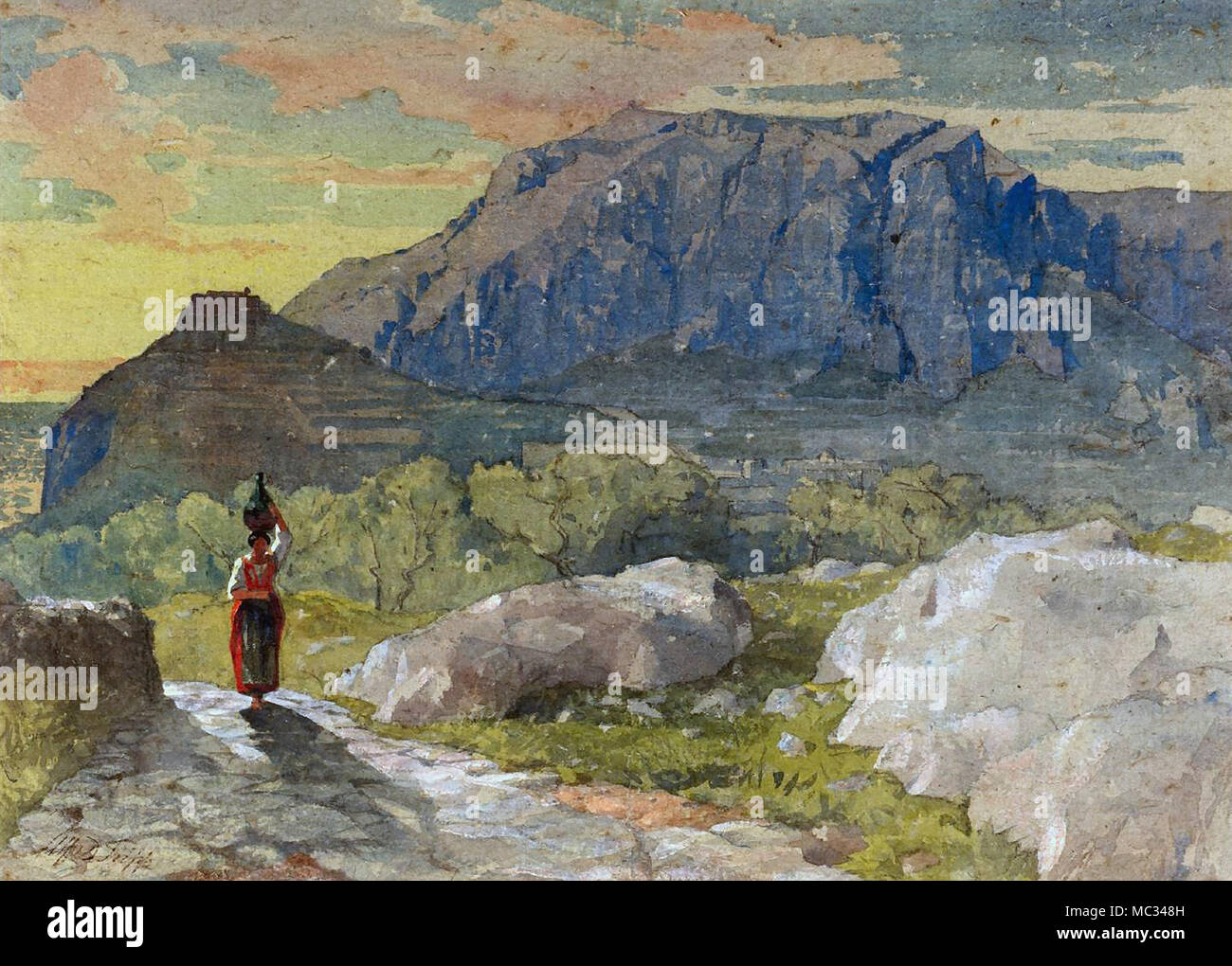 Fripp Alfred Downing - Peasant Woman in a Mountainous Landscape Capri - Stock Image