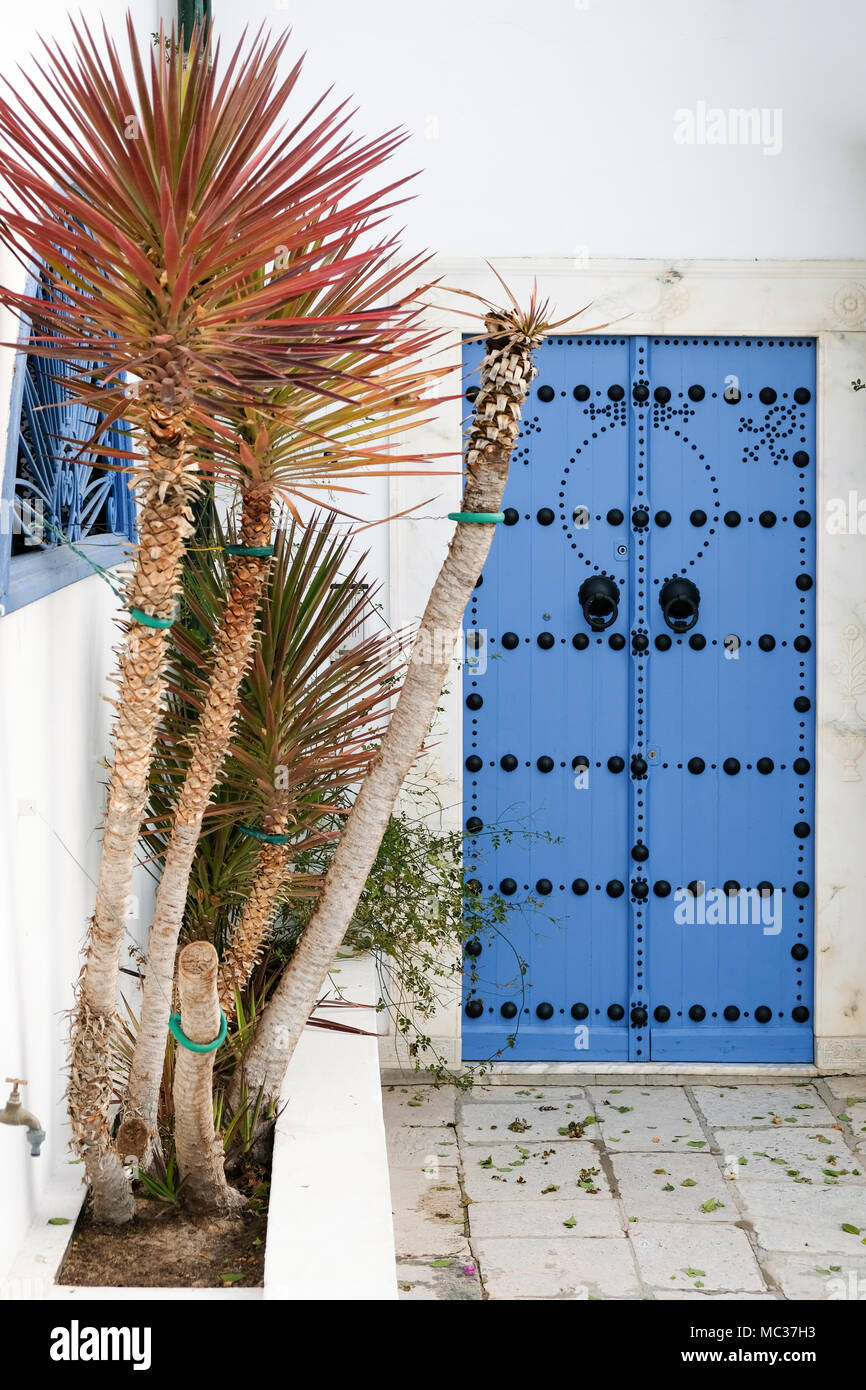 The city Sidi Bou Said, in Tunesia. The city is painted in white and blue for the most part Stock Photo