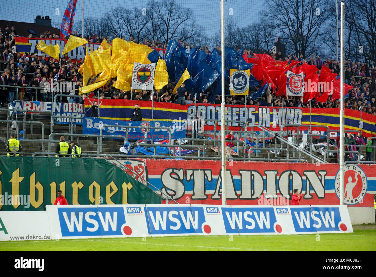 sports, football, Regional League West, 2017/2018, Wuppertaler SV vs Rot Weiss Essen 3:1, choreography of the Wuppertal football fans - Stock Image
