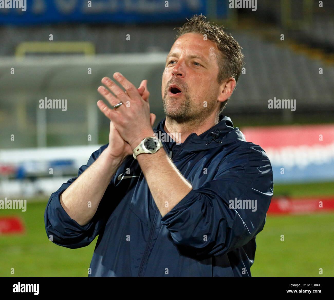 sports, football, Regional League West, 2017/2018, Wuppertaler SV vs Rot Weiss Essen 3:1, head coach Christian Britscho (WSV) - Stock Image
