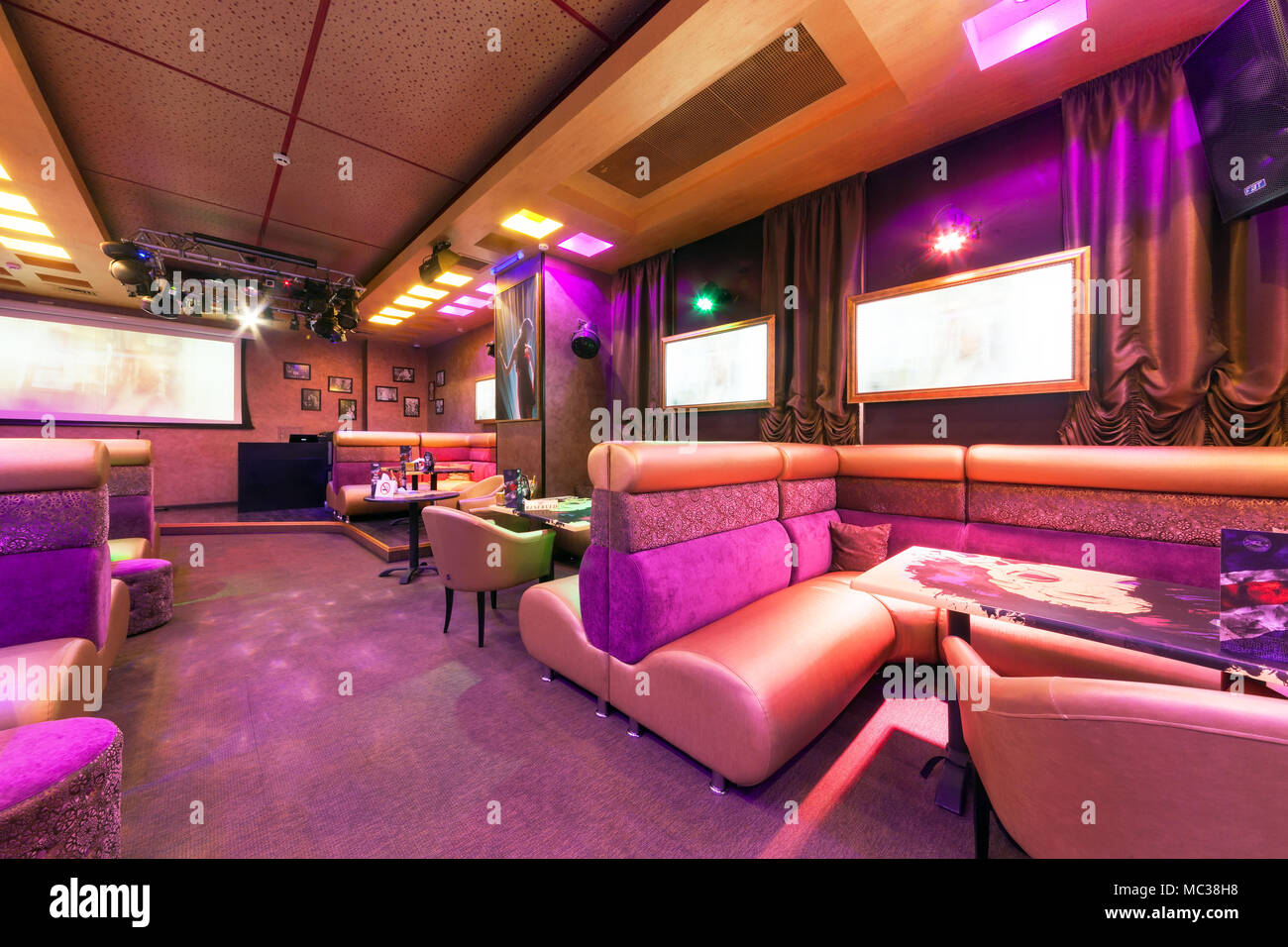 Moscow August 2014 Modern Interior Of The Main Hall Of The Restaurant Karaoke Brusoff Table With High Sofa Stock Photo Alamy