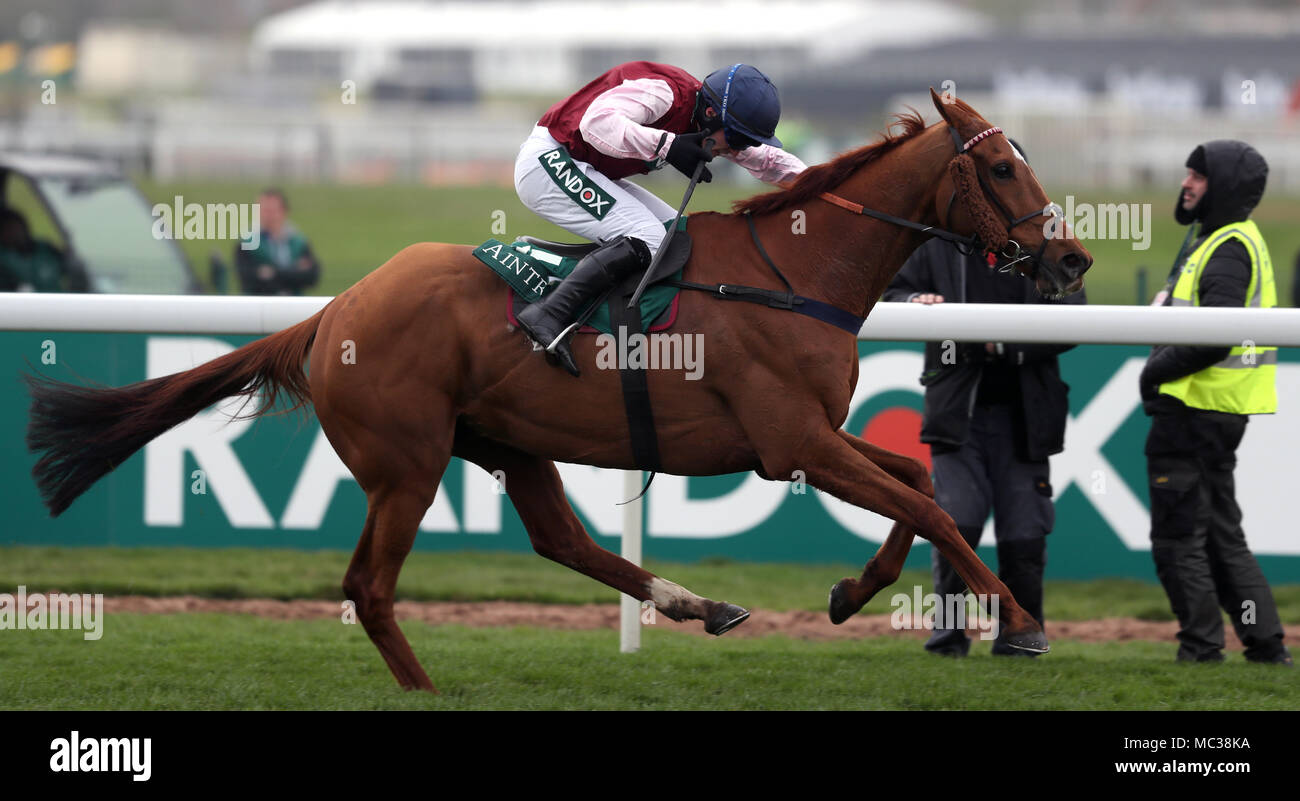 Bentelimar ridden by Jonathan Burke on the way to winning the Zut Media Red Rum Handicap Chase during day one of the 2018 Randox Health Grand National Festival at Aintree Racecourse, Liverpool. - Stock Image