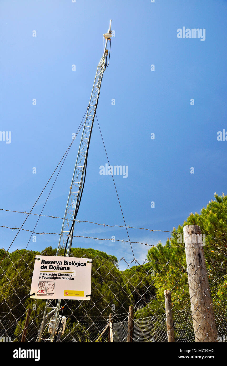 Atmospheric sensors installed in a tower inside a fenced enclosure in long-term biology investigations in Doñana National Park(Huelva,Andalusia,Spain) - Stock Image