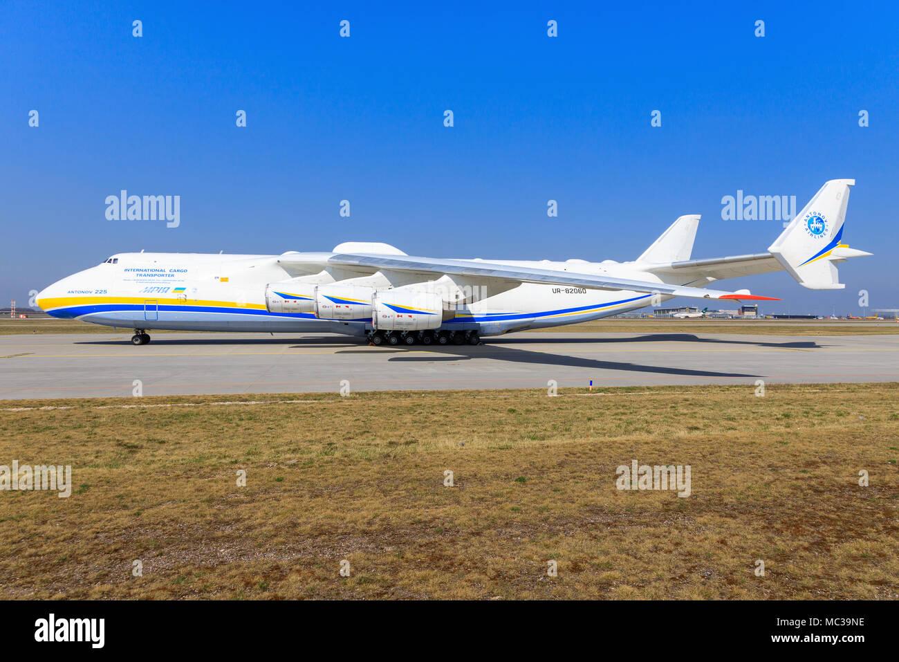 Leipzig/Germany: Antonov 225 from Design Bureaus at Leipzig/Germany 28.03.2017 - Stock Image
