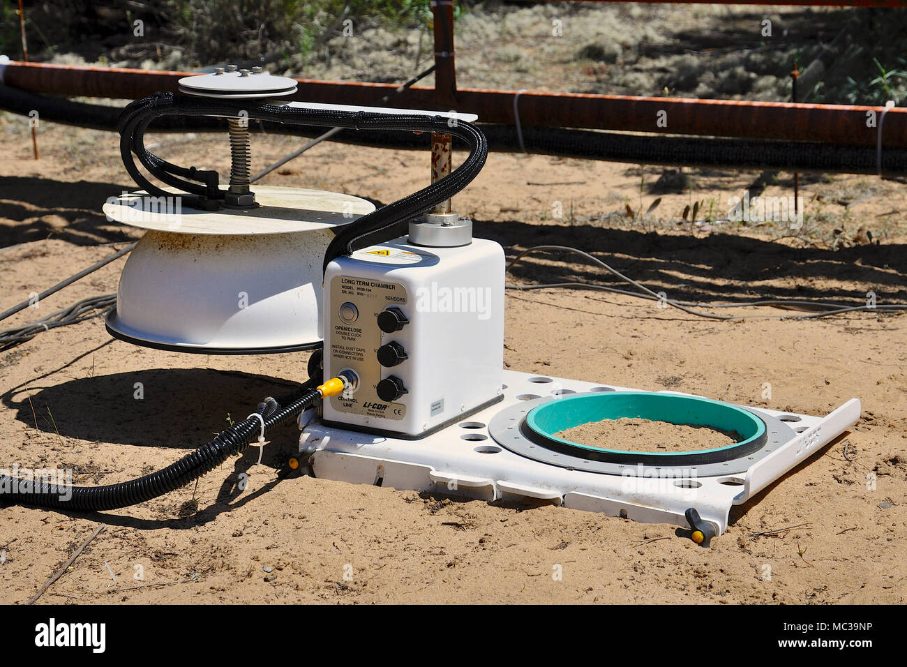 LI-COR Soil CO2 Flux System installed in clear soil in long-term biology investigations in Doñana National Park (Huelva, Andalusia, Spain) - Stock Image