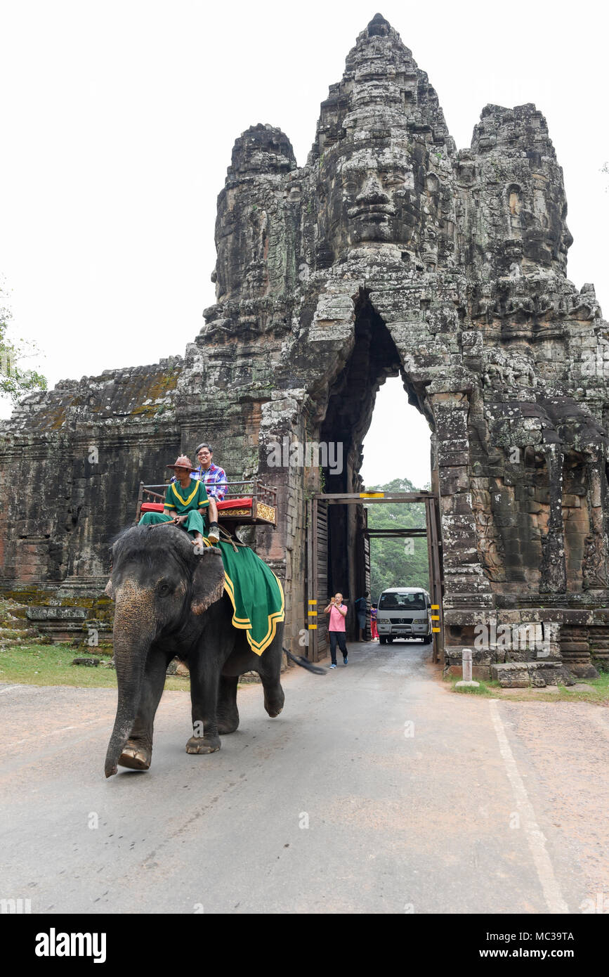 Siem Reap, Cambodia - 11 January 2018: South gate to Angkor Thom in Cambodia Stock Photo