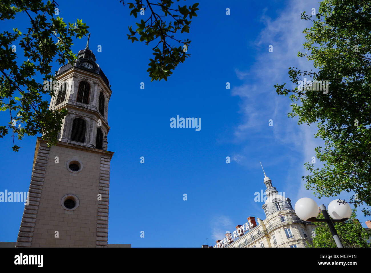 Charity Bell Tower and Hotel Royal, Antonin Poncet square, Lyon, France - Stock Image