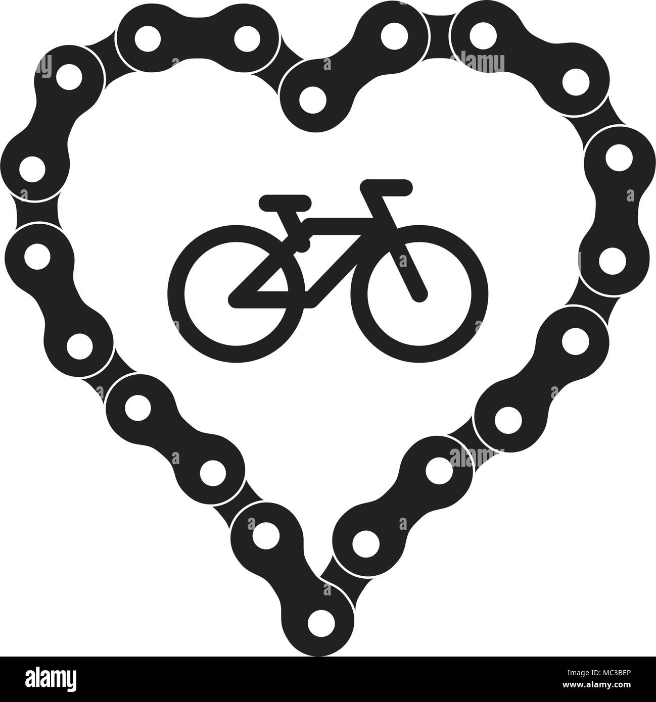Vector Heart Made of Bike or Bicycle Chain. Black Heart Silhouette Background plus Bicycle Sample Icon - Stock Image