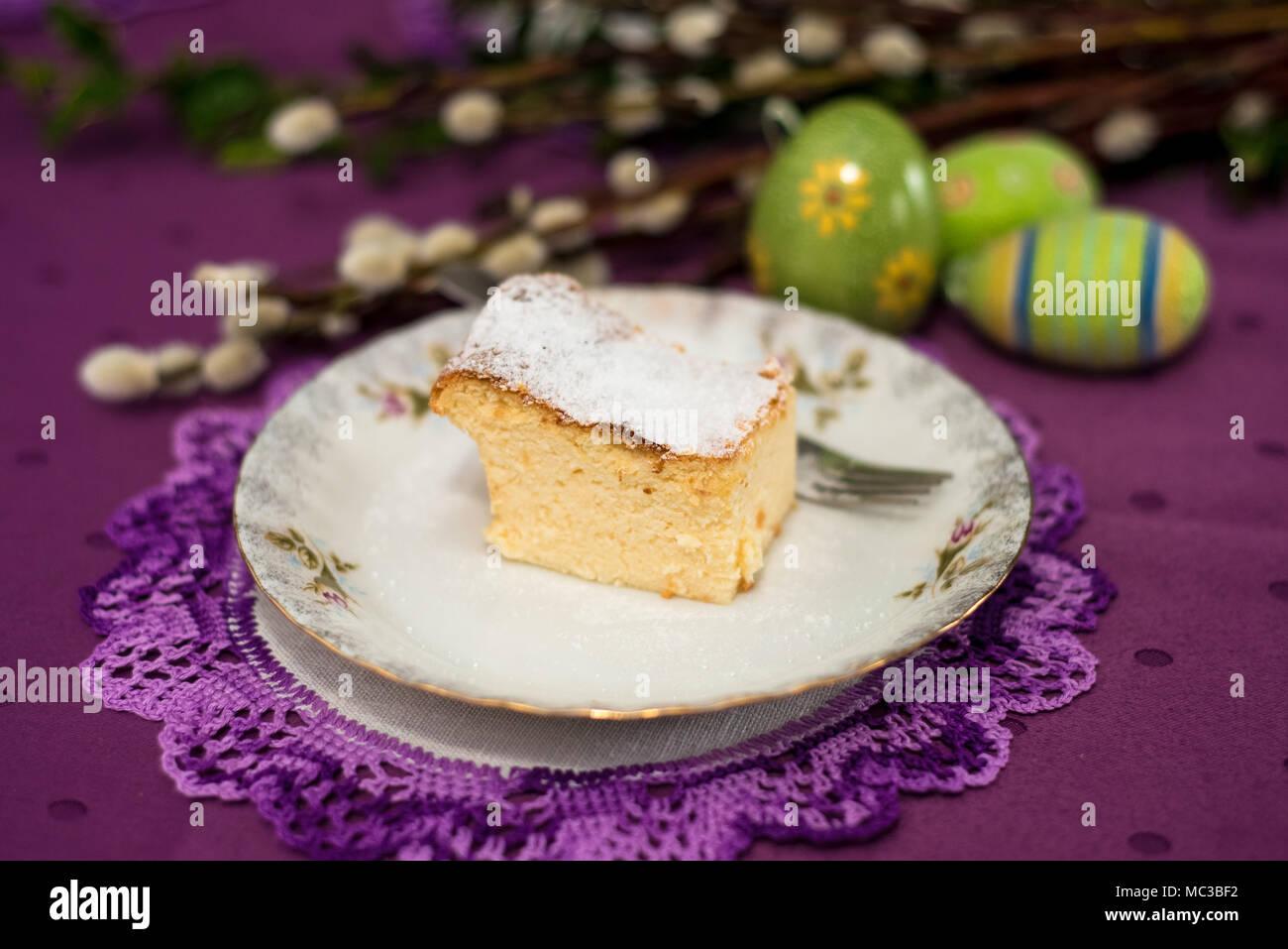 Cheesecake - homemade easter cake - Stock Image