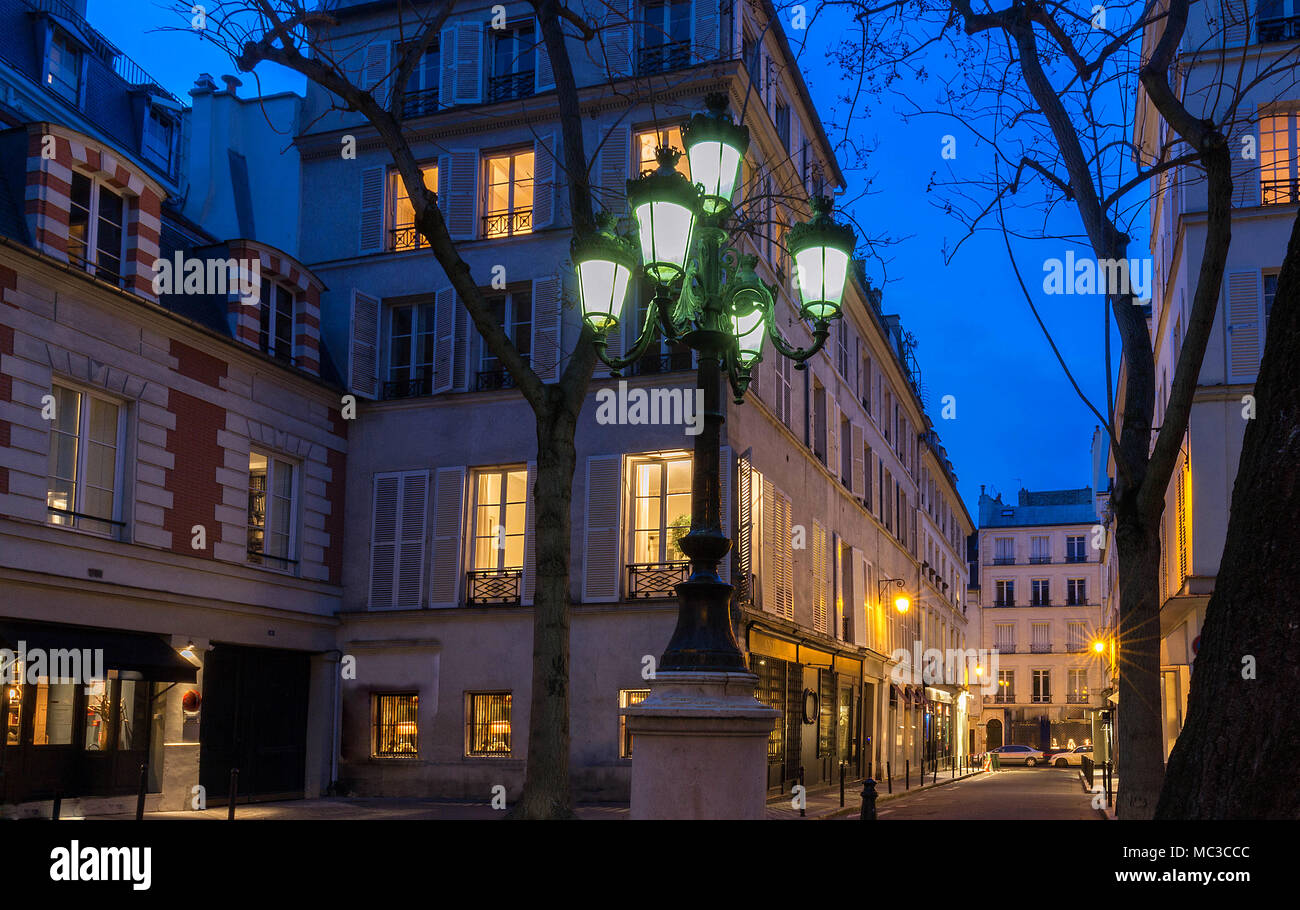 The Lamp Post On Place De Furstenberg At Night, Paris, France.   Stock
