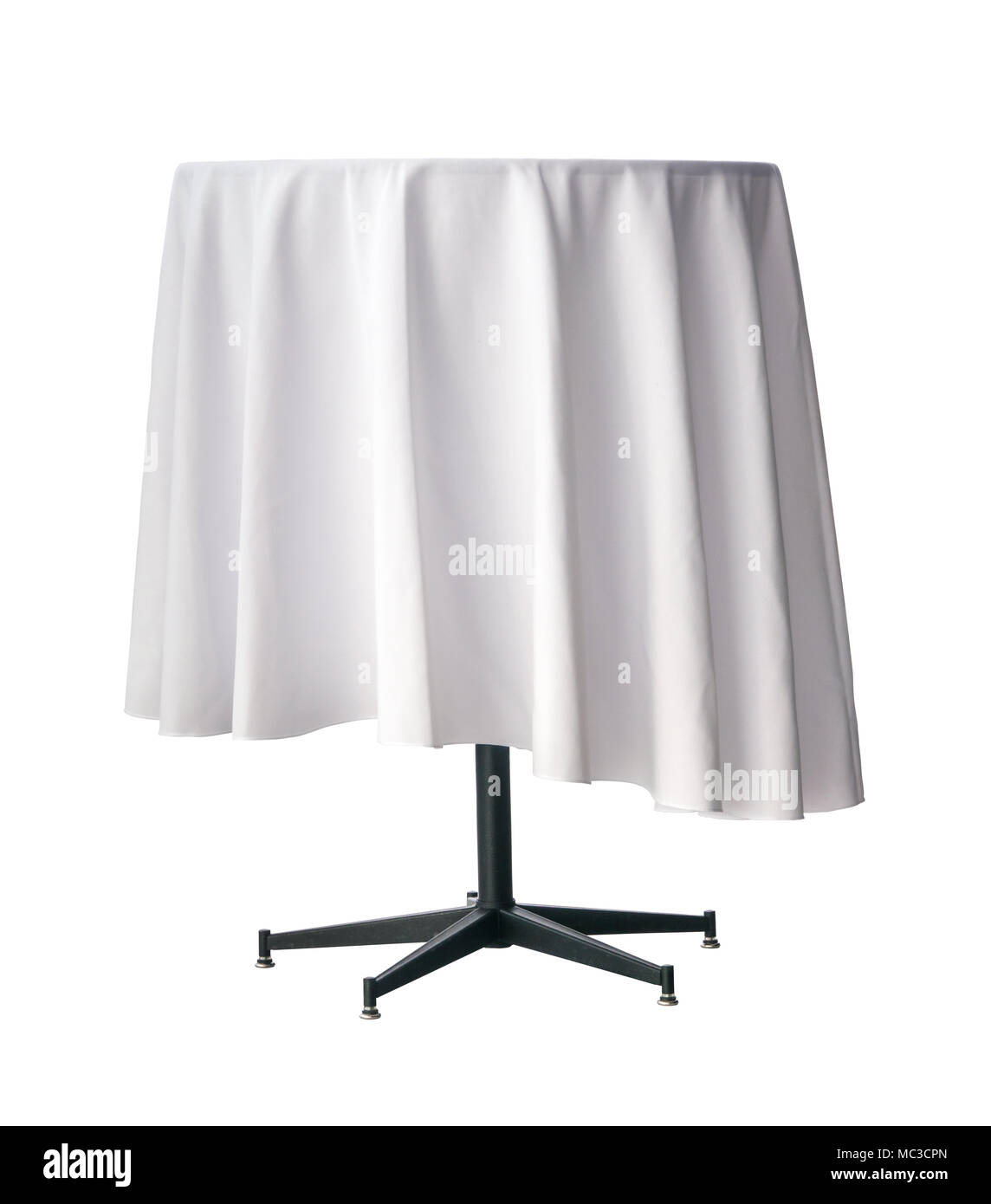 Exhibition Stand Tablecloths : Isolated empty exhibition table with a white tablecloth on a white