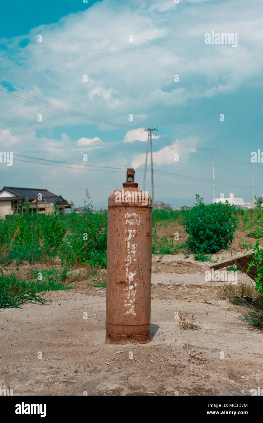 Gas tank after Fukushima Tsunami Disaster in Ishinomaki, Japan. Fukushima Tsunami disaster happened on March 11 in 2011. - Stock Image