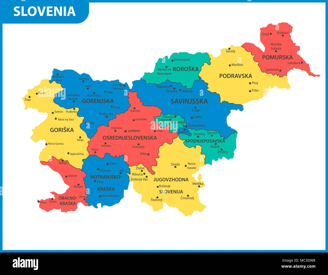 The detailed map of Slovenia with regions or states and cities