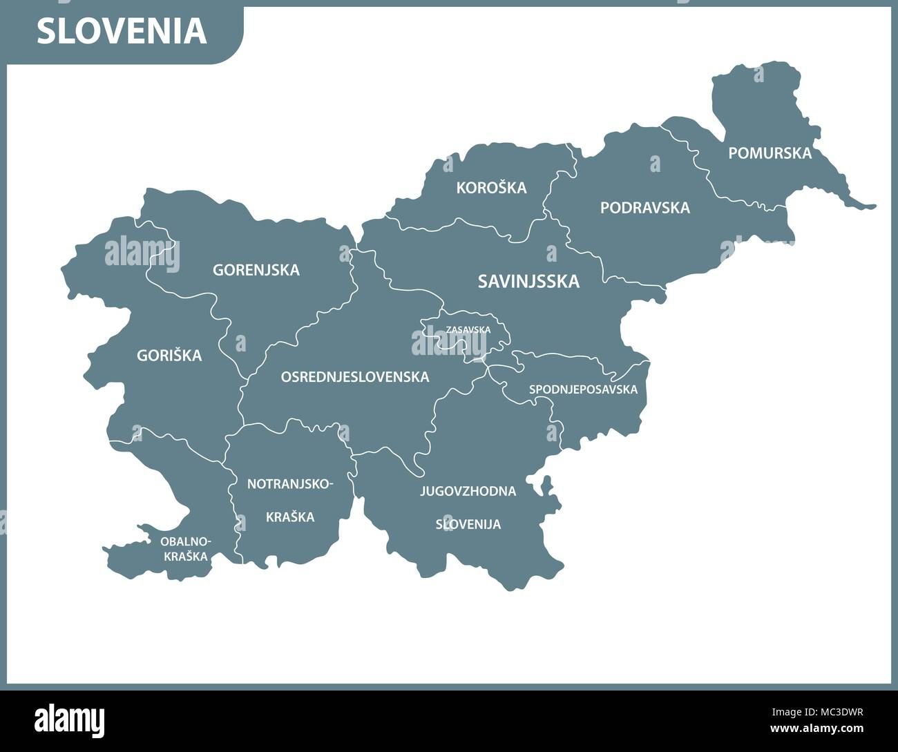 The detailed map of Slovenia with regions or states Administrative