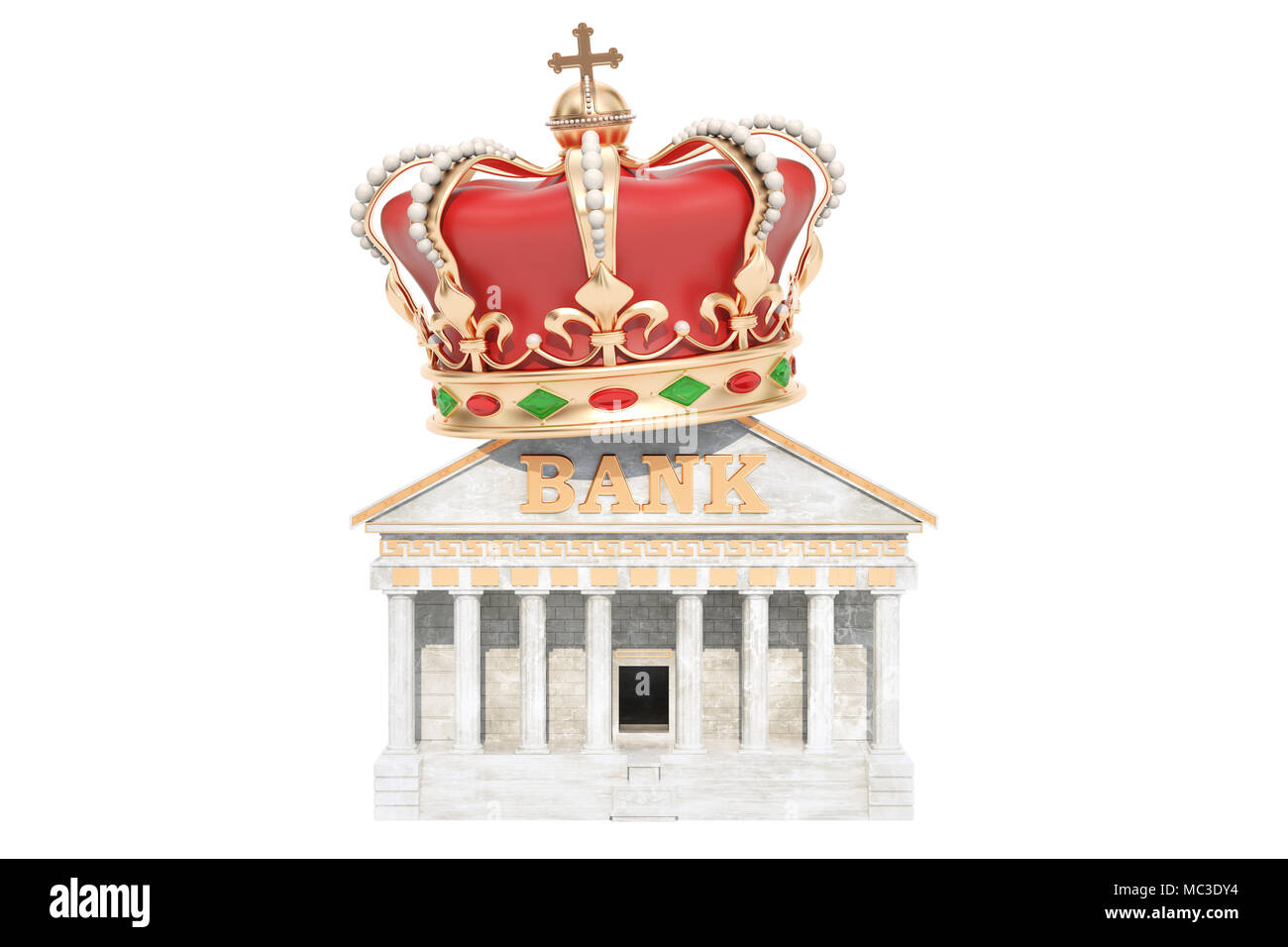 Bank with royal crown, 3D rendering isolated on white background - Stock Image