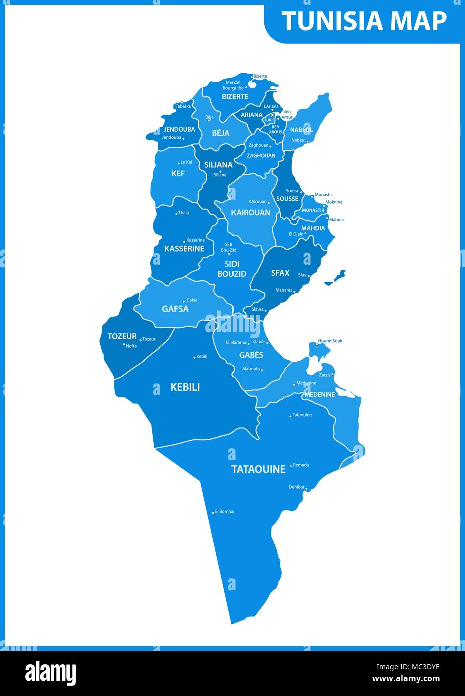 The detailed map of the Tunisia with regions or states and cities, capitals. Administrative division - Stock Image