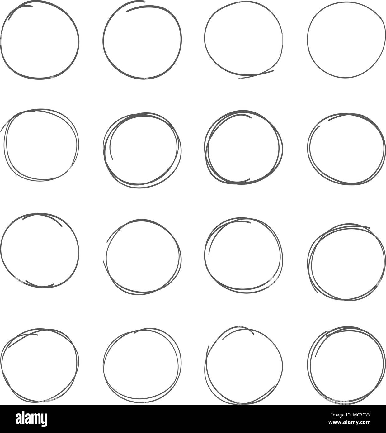 Hand drawn scribble circles set. Doodle ink sketch round note design elements - Stock Image
