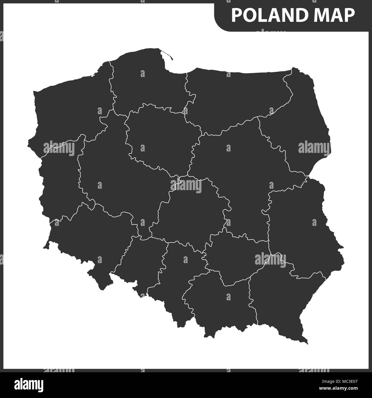 The detailed map of Poland with regions or states Stock Vector