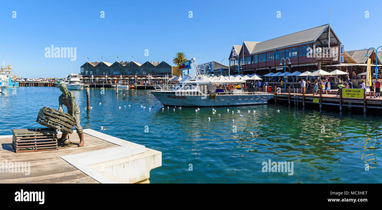 Fremantle Fishing Boat Harbour jetty with views over to Cicerello's Fremantle, Western Australia - Stock Image