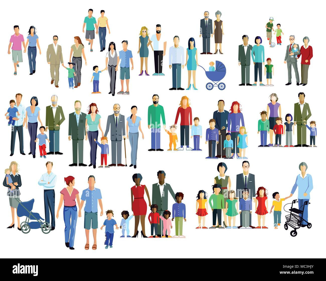 Family members, generation groups, illustration - Stock Vector