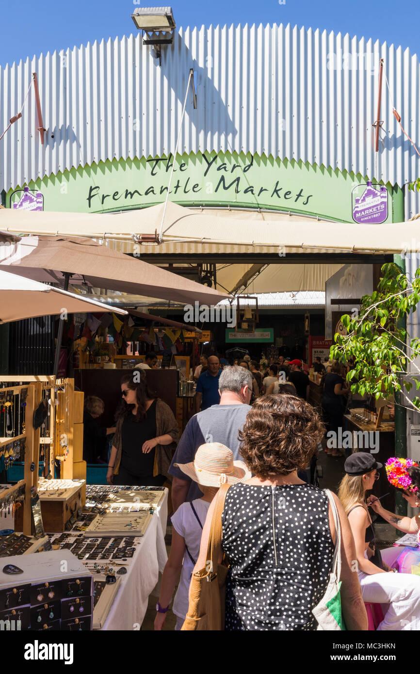 Busy Fremantle Markets building, Fremantle, Western Australia, Australia - Stock Image