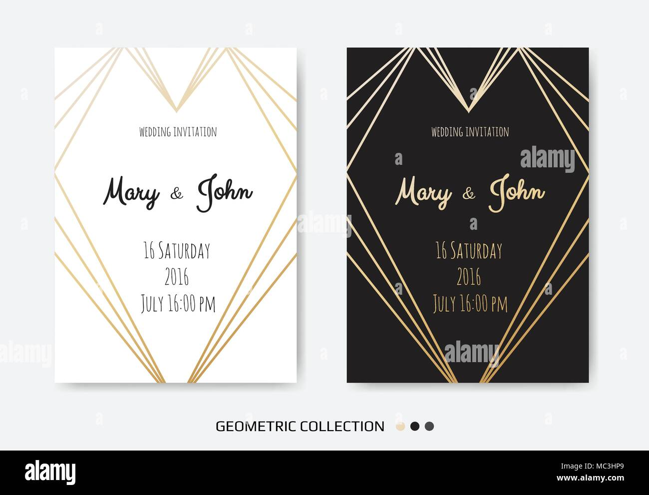 Wedding invitation invite card design with geometrical art lines wedding invitation invite card design with geometrical art lines gold foil border frame vector modern geometric abstract template layout stopboris Choice Image