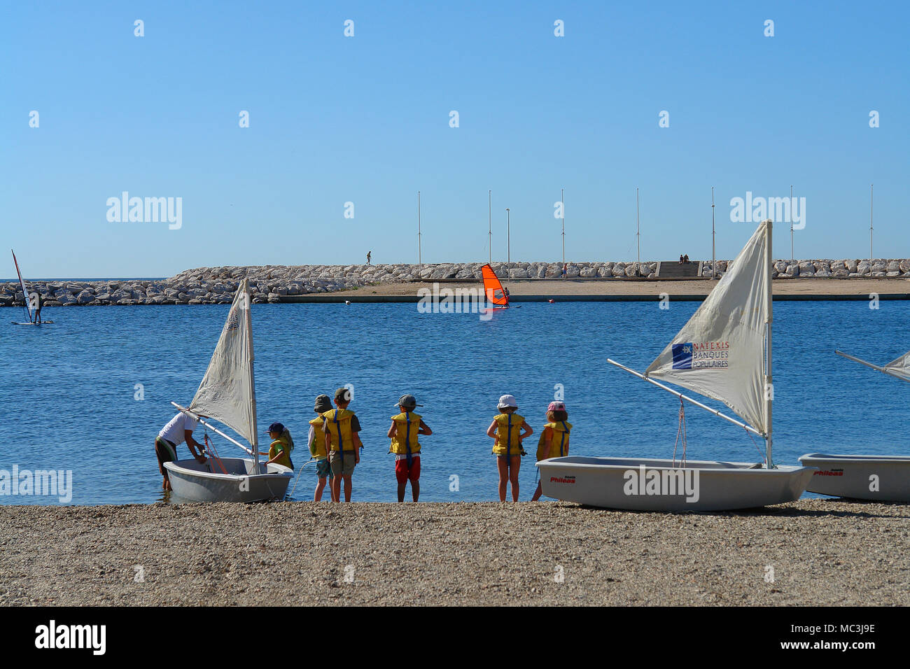 Sailing school for childs - Stock Image