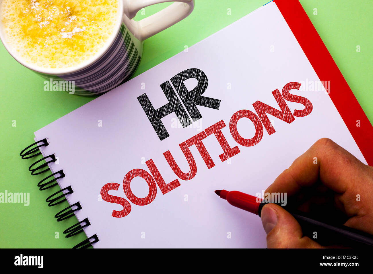 Word writing text Hr Solutions. Business concept for Recruitment Solution Consulting Management Solving Onboarding written by Man Notebook Book Holdin - Stock Image