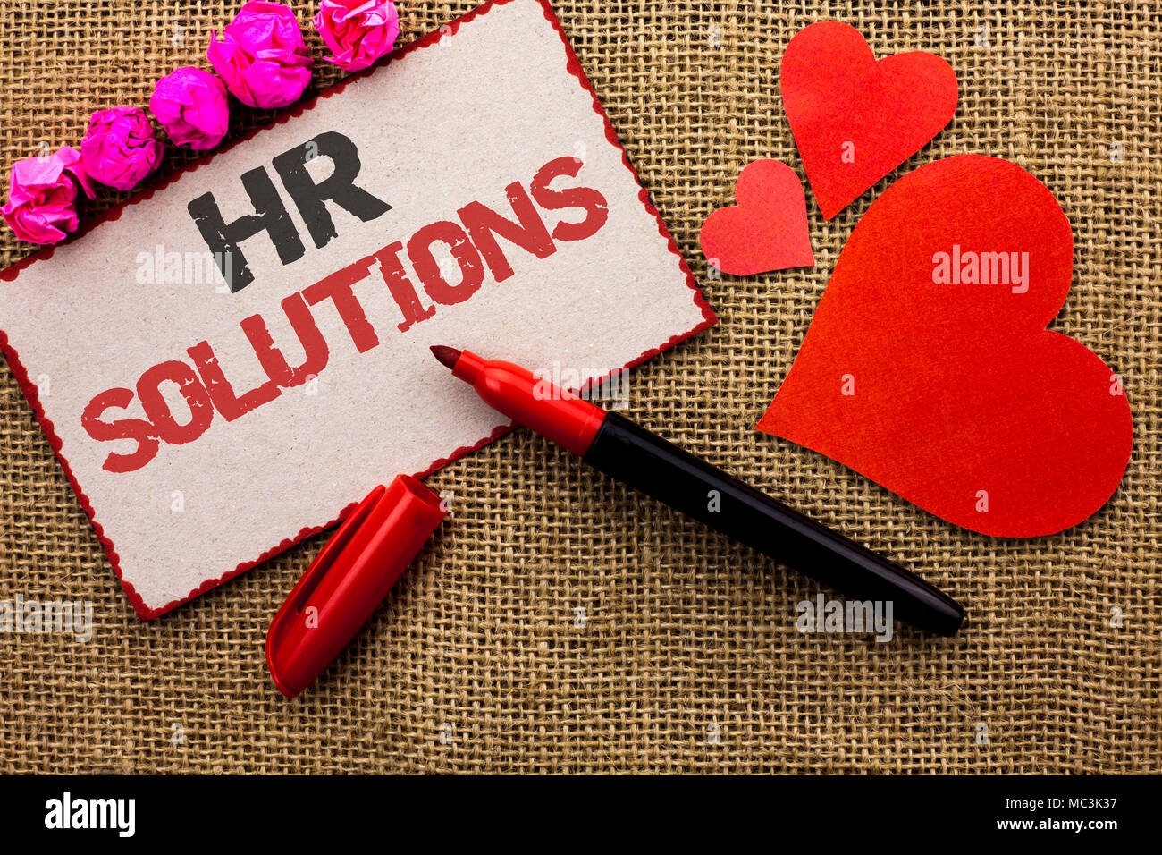 Word writing text Hr Solutions. Business concept for Recruitment Solution Consulting Management Solving Onboarding written Cardboard Piece the jute ba - Stock Image