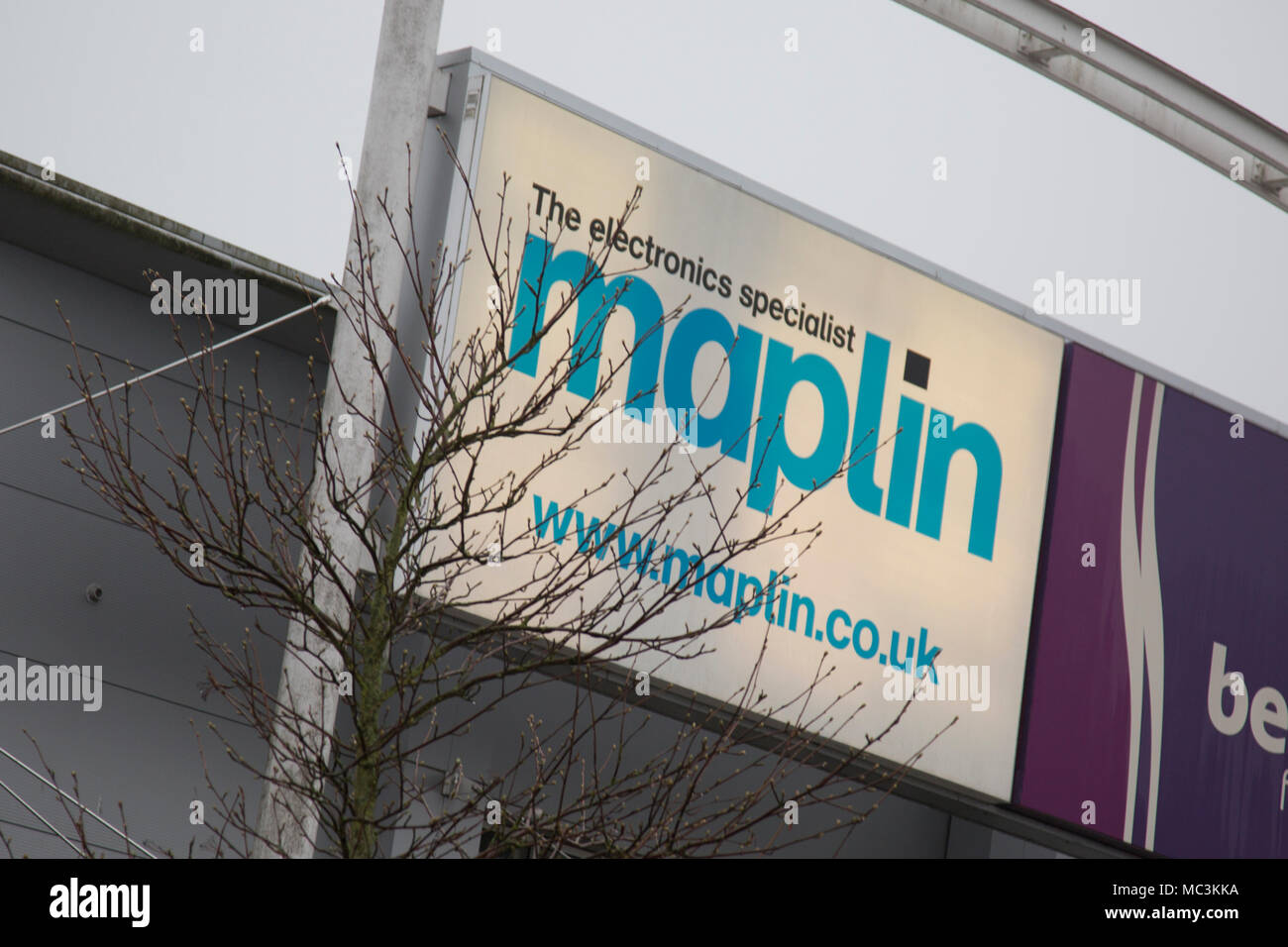 Maplin Electronics superstore sign above the shop in Kidderminster Worcestershire April 2018 - Stock Image