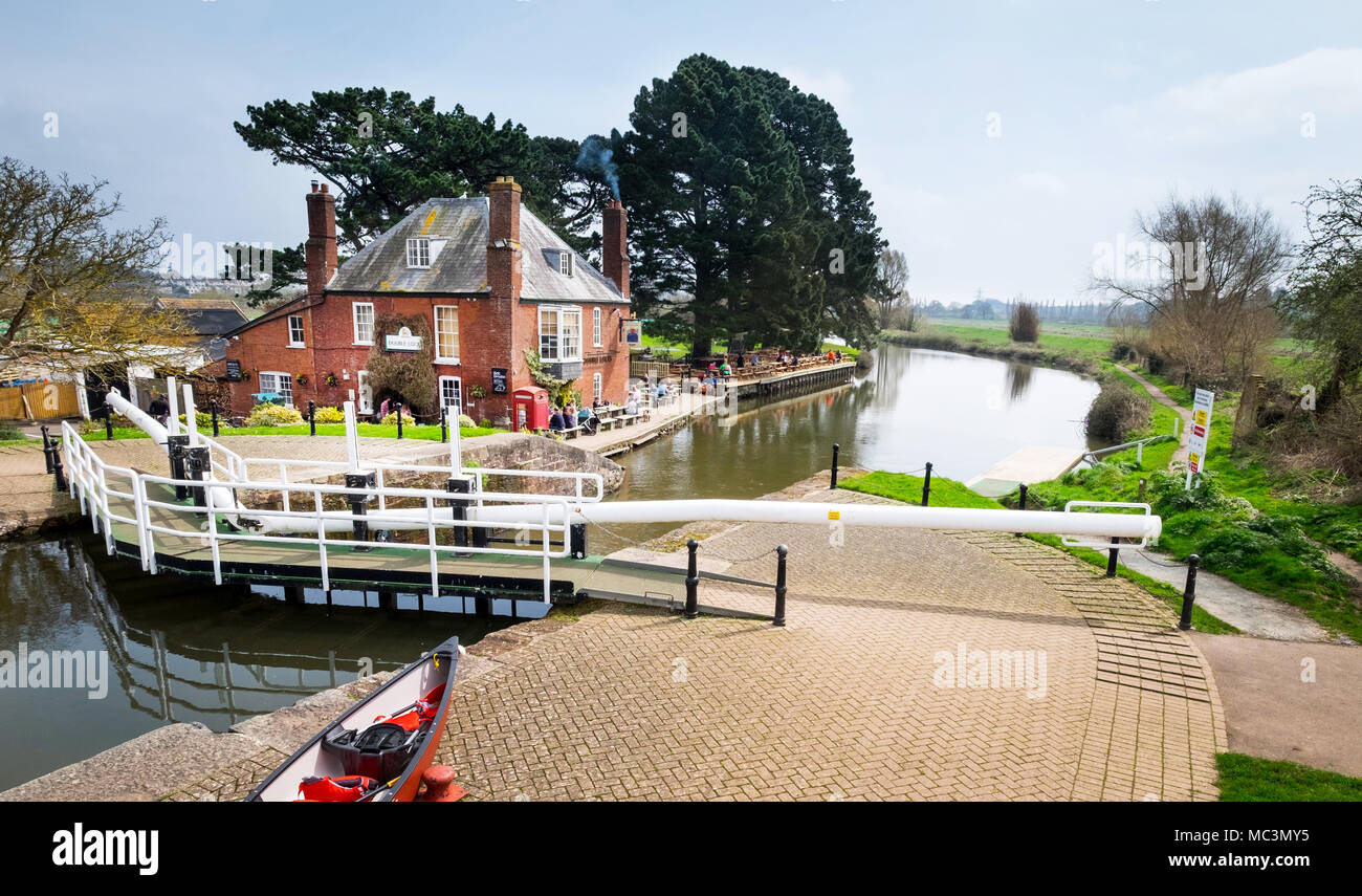 Double Locks Pub on the Exeter Ship Canal, Exeter Devon, UK - Stock Image