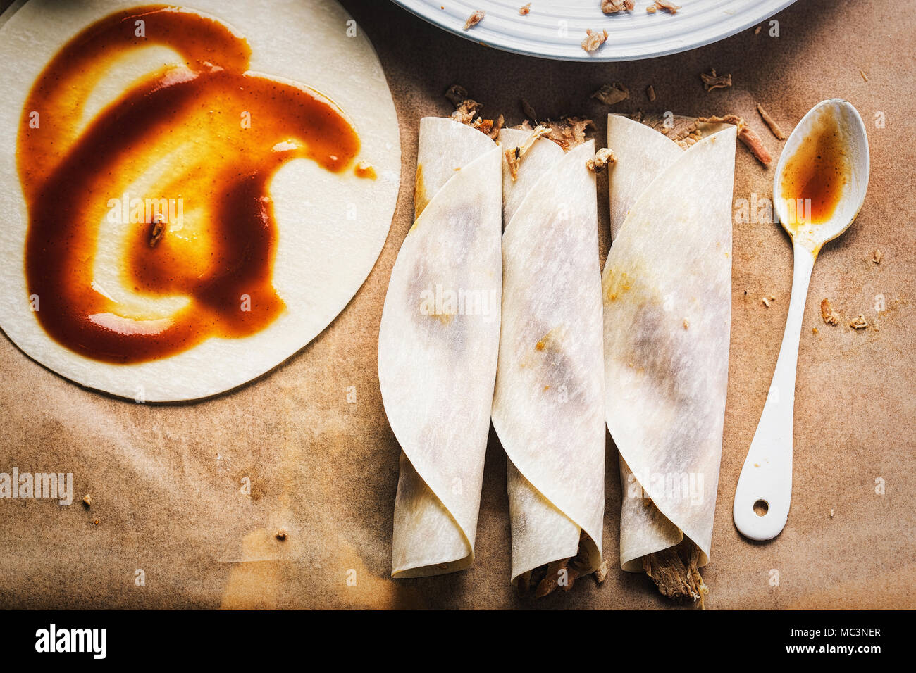 Beijing style duck pancakes with hoisin sauce - Stock Image