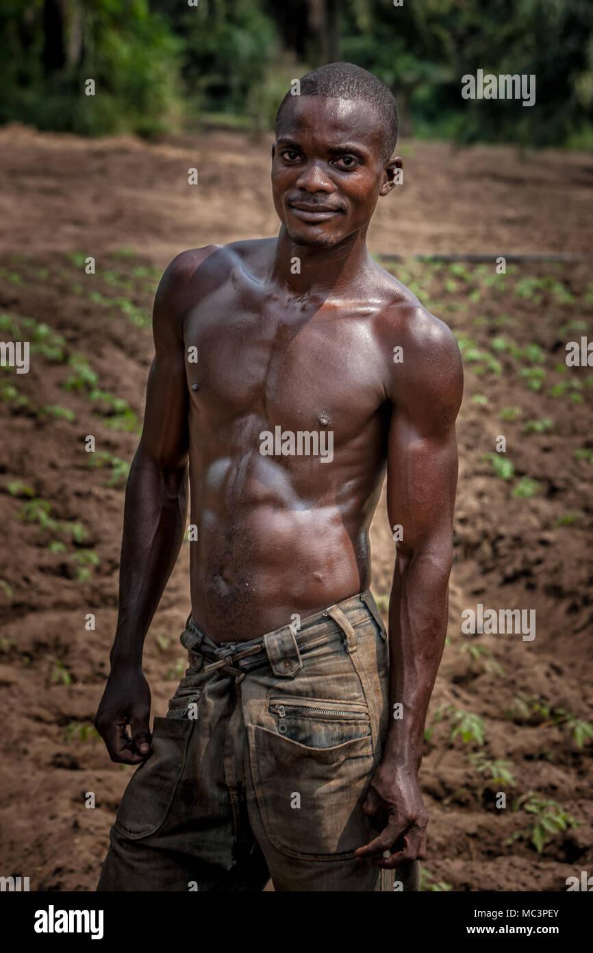 CABINDA/ANGOLA - 09 JUN 2010 - Portrait of African rural farmer. Cabinda. Angola. - Stock Image