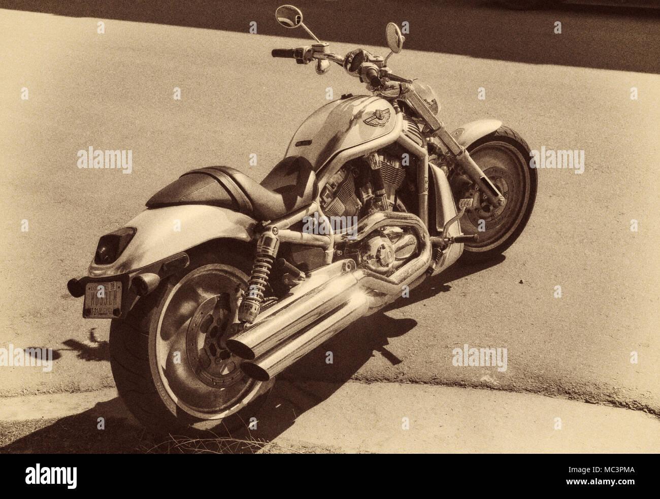 Black & white of classic Harley Davidson motorcyle; historic Salida; Colorado; USA - Stock Image