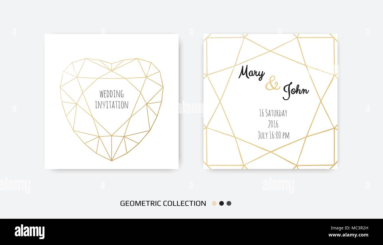 Wedding invitation invite card design with geometrical art lines wedding invitation invite card design with geometrical art lines gold foil border frame vector modern geometric abstract template layout stopboris Image collections