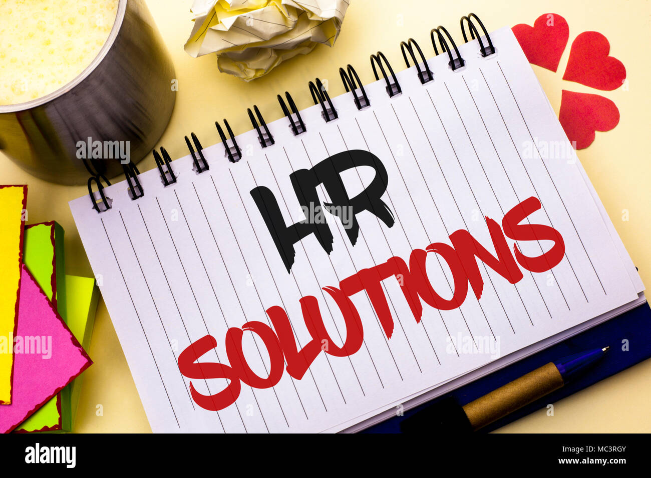 Writing note showing  Hr Solutions. Business photo showcasing Recruitment Solution Consulting Management Solving Onboarding written Notebook Book the  - Stock Image