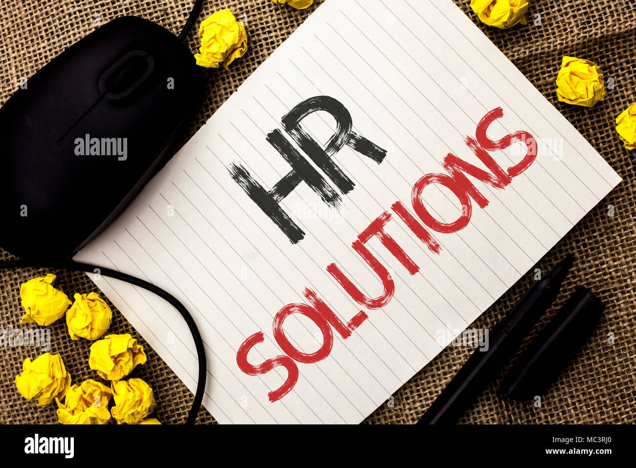 Word writing text Hr Solutions. Business concept for Recruitment Solution Consulting Management Solving Onboarding written Notebook Paper the jute bac - Stock Image