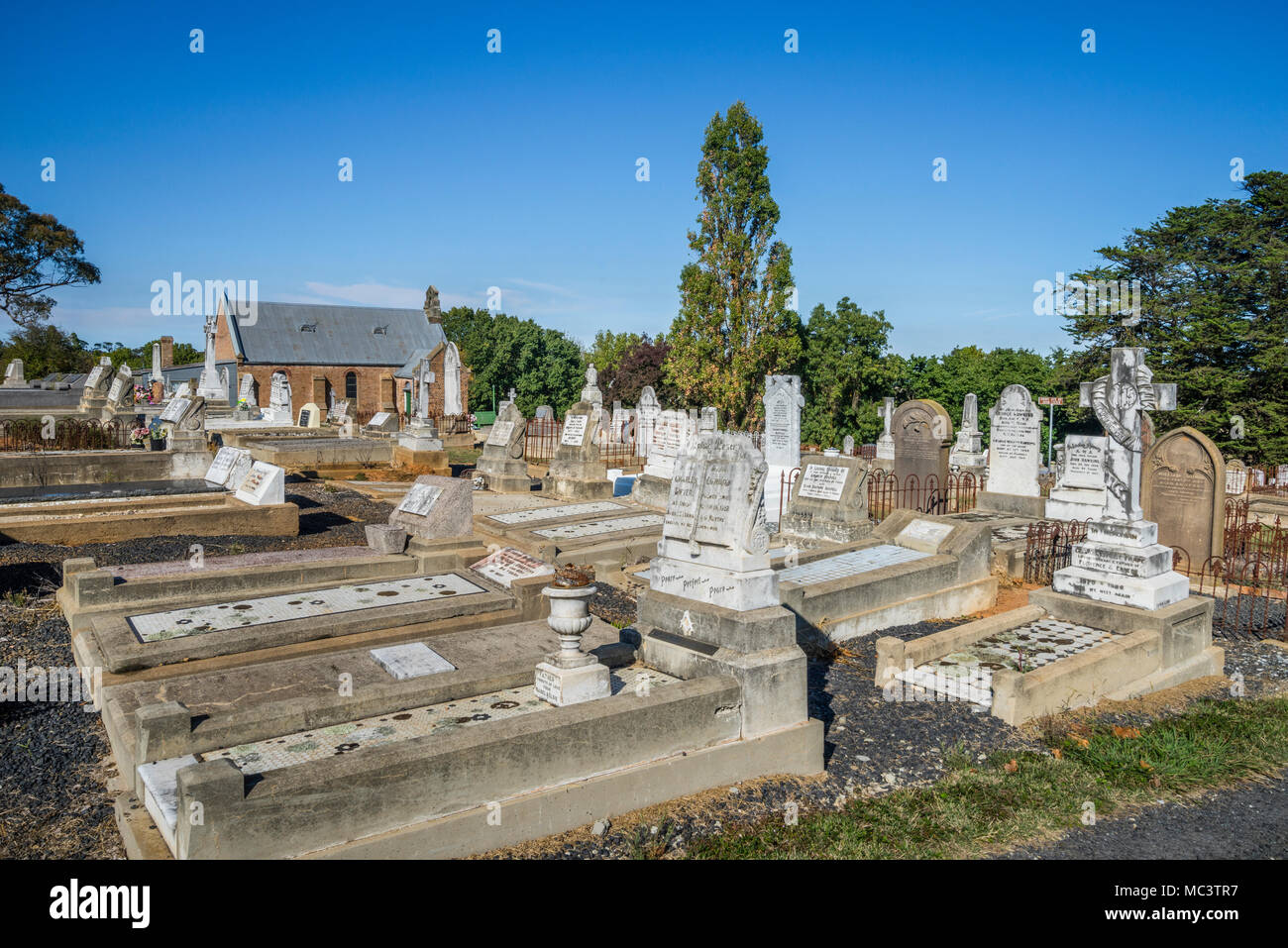 Millthorpe cemetary with historic gravesites of pioneer families of the region, Millthorpe, Central West New South Wales, Australia - Stock Image