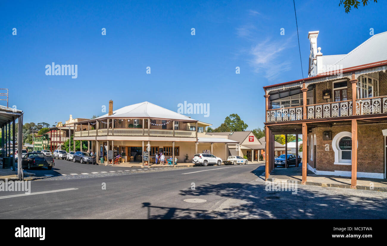 verandahs providing shaded arcades at Victoria and Pym Street in the commercial centre of the well preserved histric town of Millthorpe; Central West  - Stock Image
