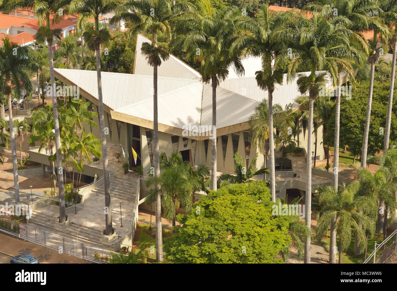 Campinas, SP/ Brazil - April 7, 2018: Sao Paulo Apostolo church and its unique architecture seen from high angle Stock Photo